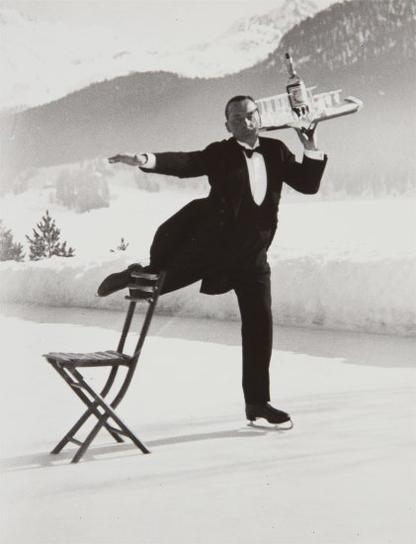 Alfred Eisenstaedt-St. Moritz, Rene Brequet Serves Cocktails At The Grand Hotel Ice Rink-1932