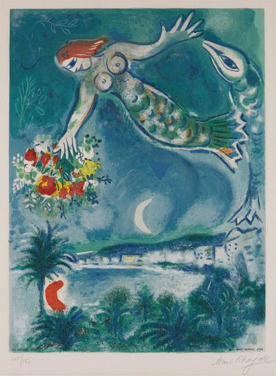 Marc Chagall-After Marc Chagall - Sirene Et Poisson, From Nice Et La Cote Dazur (Siren And Fish, From Nice And The French Riviera), By Charles Sorlier-1967