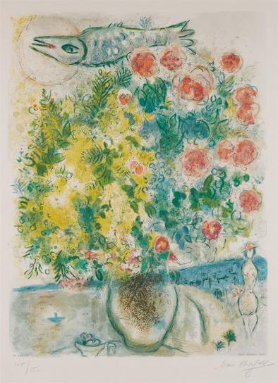 Marc Chagall-After Marc Chagall - Roses Et Mimosas, From Nice Et La Cote Dazur (Roses And Mimosas, From Nice And The French Riviera), By Charles Sorlier-1967