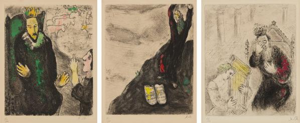 Marc Chagall-The Bible Series: Three Plates-1939