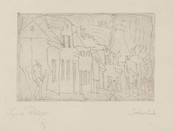 Lyonel Feininger-Muhlenstrasse, Swinemunde (Muhle Street, Swinemunde)-1916