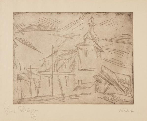 Lyonel Feininger-Kirche Von Drobsdorf (Church Of Drobsdorf)-1917
