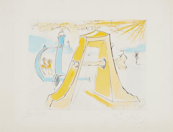 Salvador Dali-A.D., Hommage A Durer-1971