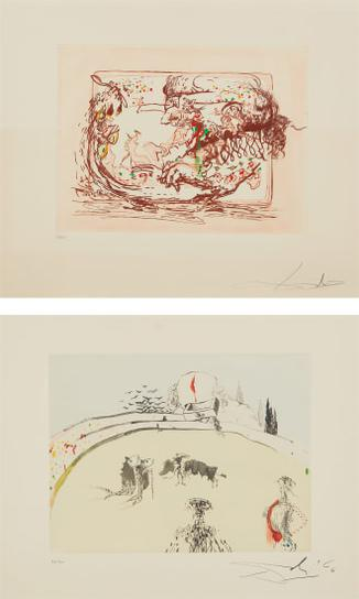 Salvador Dali-La Television; And La Tauromachine Au Tiroir, From Tauromachie Surrealiste (Television; And Bullfight In A Drawer, From Surrealistic Bullfight)-1967