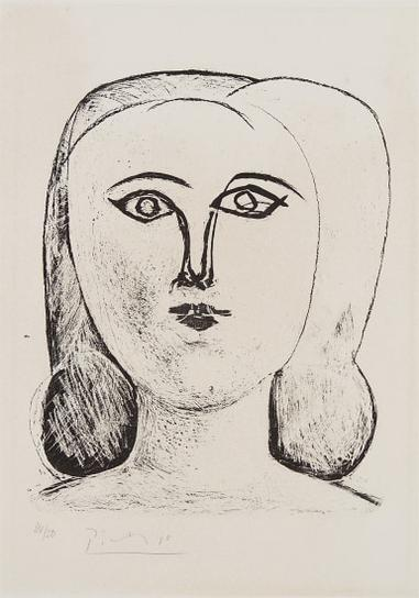 Pablo Picasso-Tete De Jeune Fille (Head Of A Young Girl)-1946