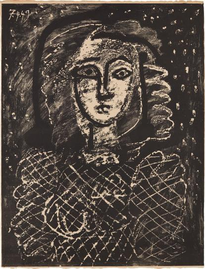 Pablo Picasso-Buste Au Fond Etoile (Bust With Star Spangled Background)-1949