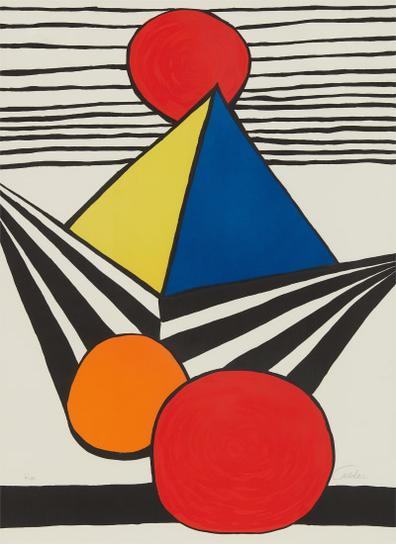 Alexander Calder-Pyramid And Red Sun, From La Memoire Elementaire (The Elementary Memory)-1978