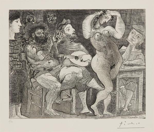 Pablo Picasso-Au Cabaret (At The Cabaret)-1961