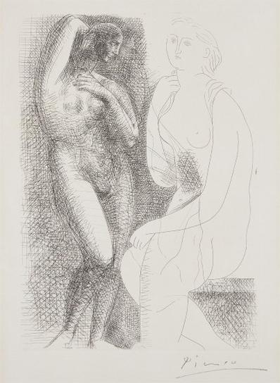 Pablo Picasso-Femme Nue Devant Une Statue (Naked Woman In Front Of A Statue), Plate 6 From La Suite Vollard-1931