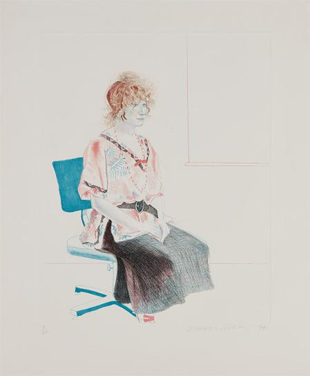 David Hockney-Celia Seated On An Office Chair-1974