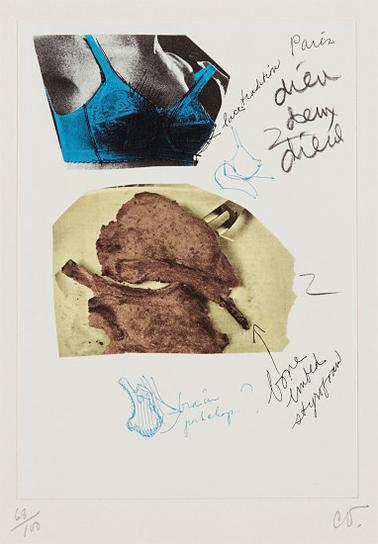 Claes Oldenburg-Pork Chops Compared To Breasts, From Notes In Hand-1972