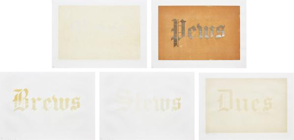 Ed Ruscha-News, Mews, Pews, Brews, Stews & Dues: Five Plates-1970