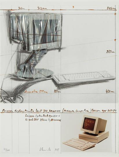 Christo and Jeanne-Claude-Ericsson Display Monitor Unit 3111, Wrapped Project For Personal Computer-1985