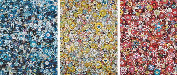 Takashi Murakami-Blue Flower & Skulls; Mg, 1960->2012; And Skulls & Flowers Red-2013