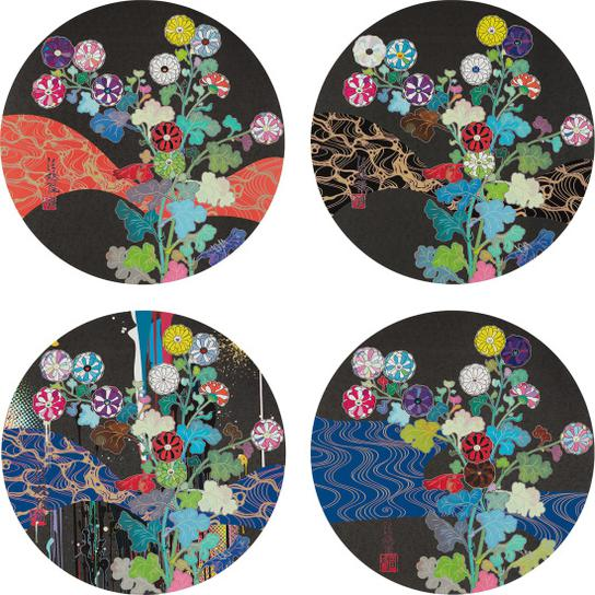 Takashi Murakami-A Red River Is Visible; Kansei: Wildflowers Glowing In The Night; Korin: Stellar River In The Heavens;Korin: Azure River-2015