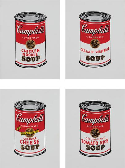 Richard Pettibone-Chicken Noodle; Cream Of Vegetable; Cheddar Cheese And Tomato Rice, From Andy Warhol, 32 Cans Of Campbells Soup, 1962-1987
