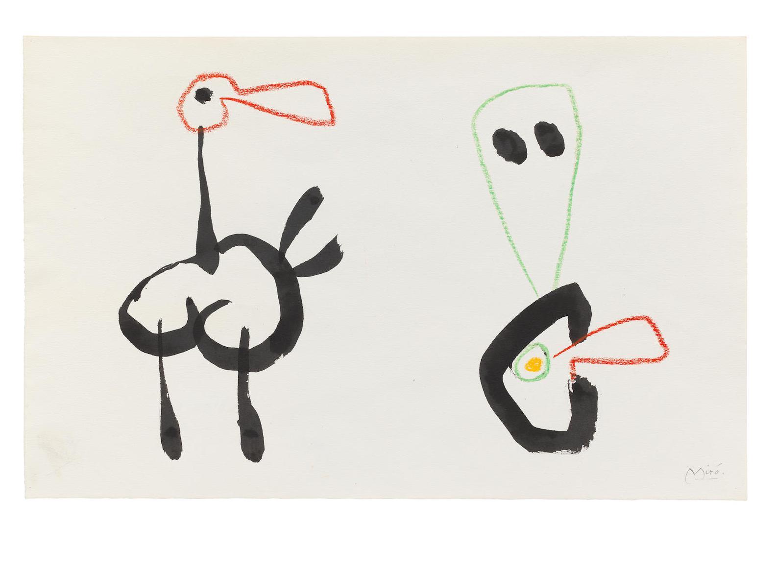 Joan Miro-Sans Titre. Projet Pour Ubu Roi-1953