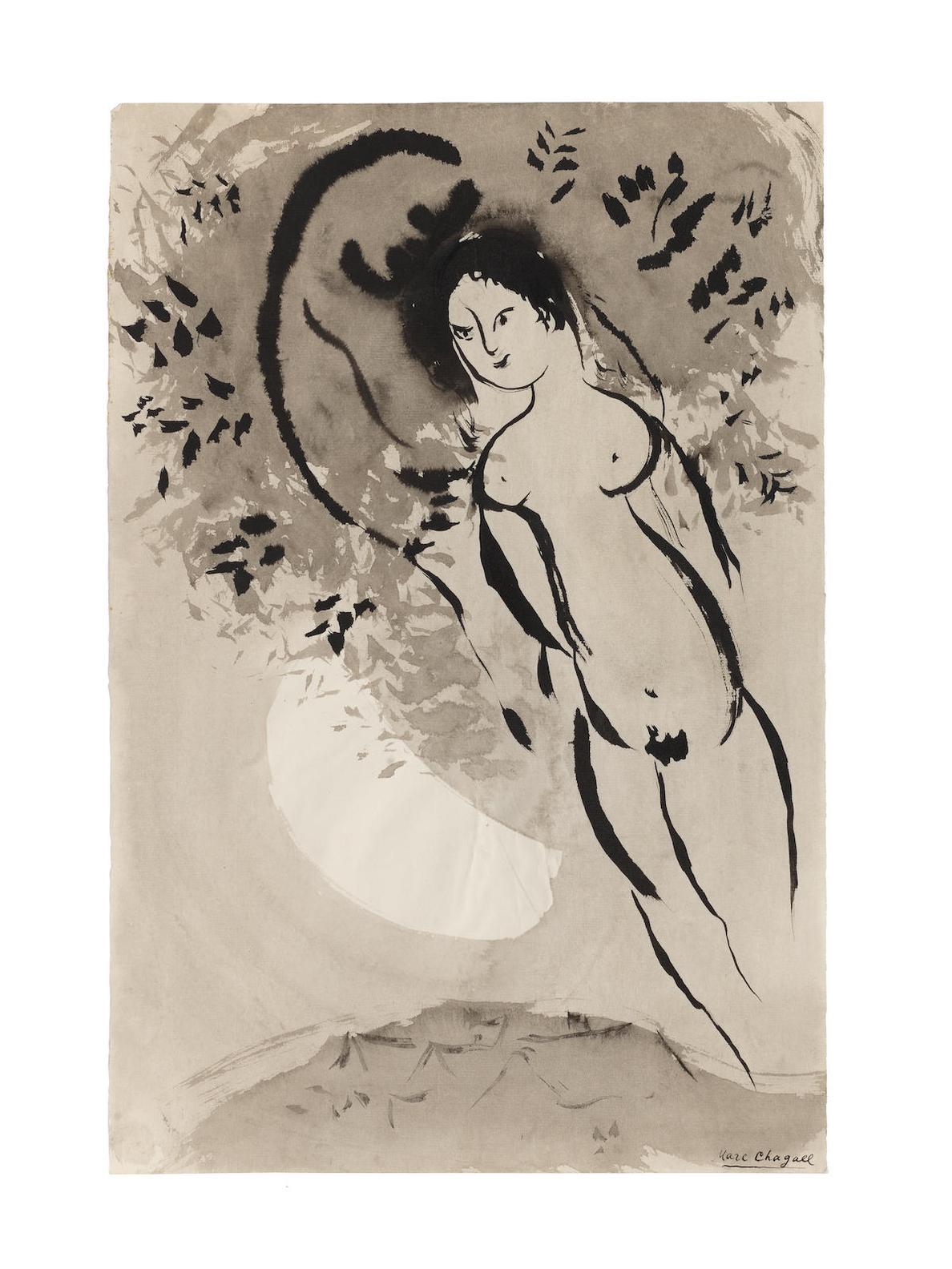 Marc Chagall-Nu Au Croissant De Lune-1950