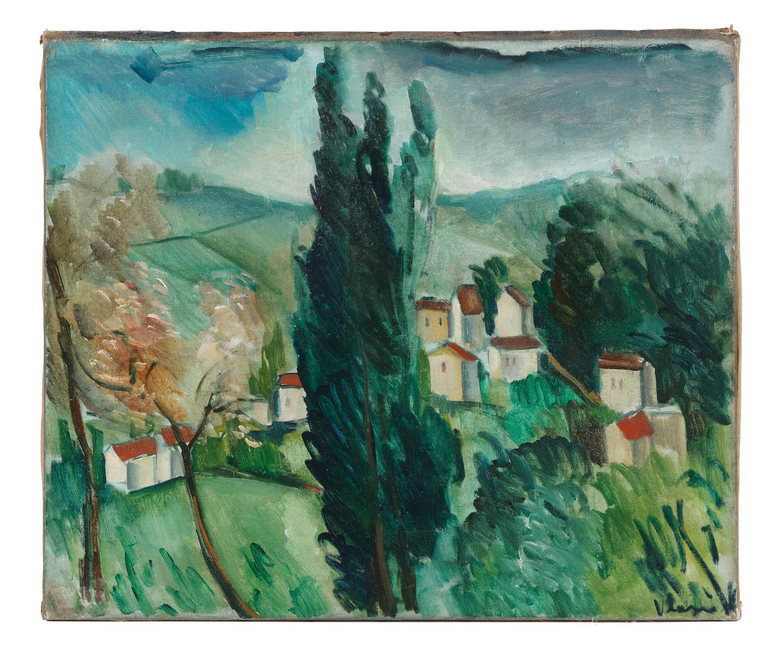 Maurice de Vlaminck-Paysage Aux Trois Cypres-