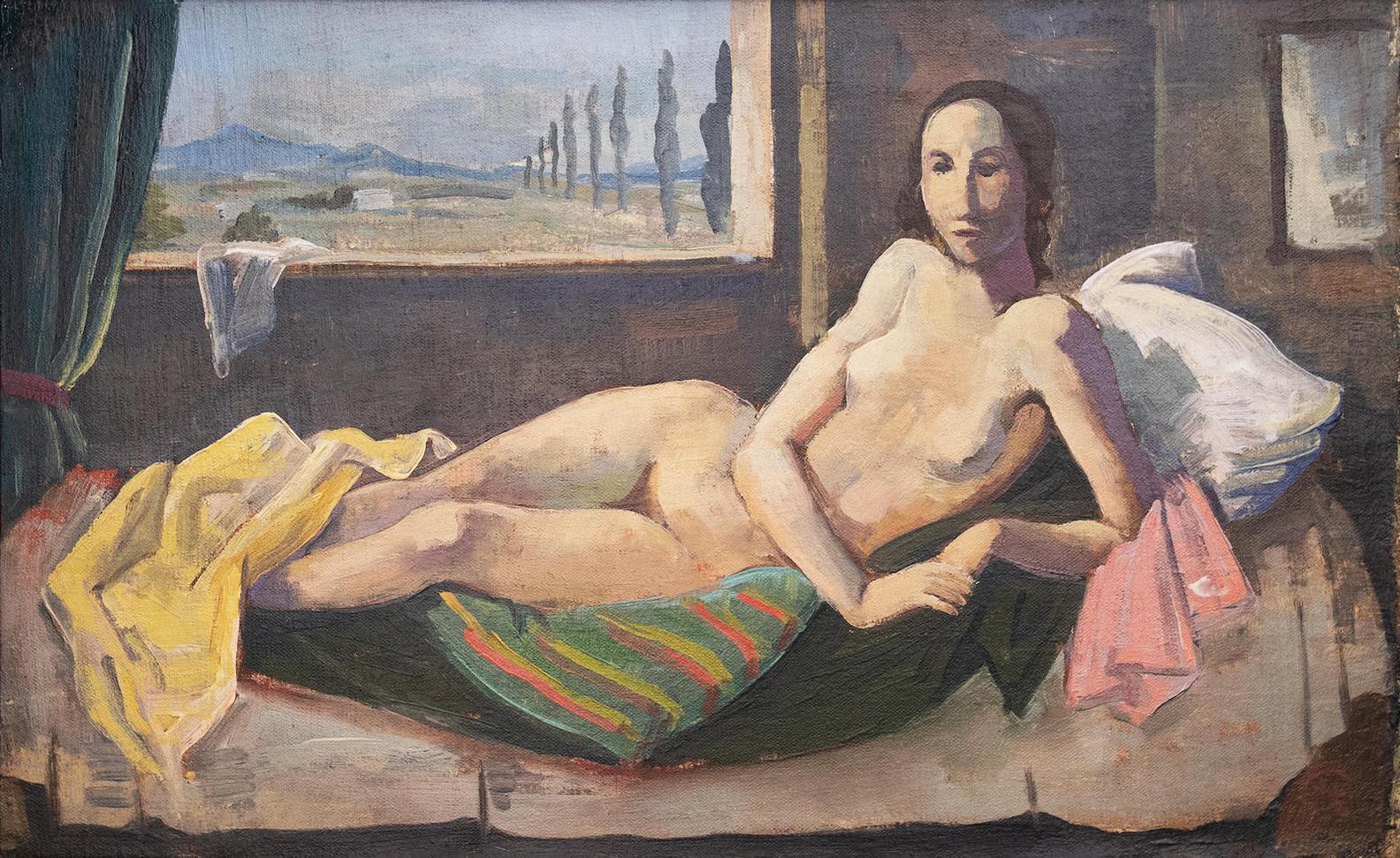 Karl Hofer-Liegender Madchenakt Vor Fenster Mit Berglandschaft-1940
