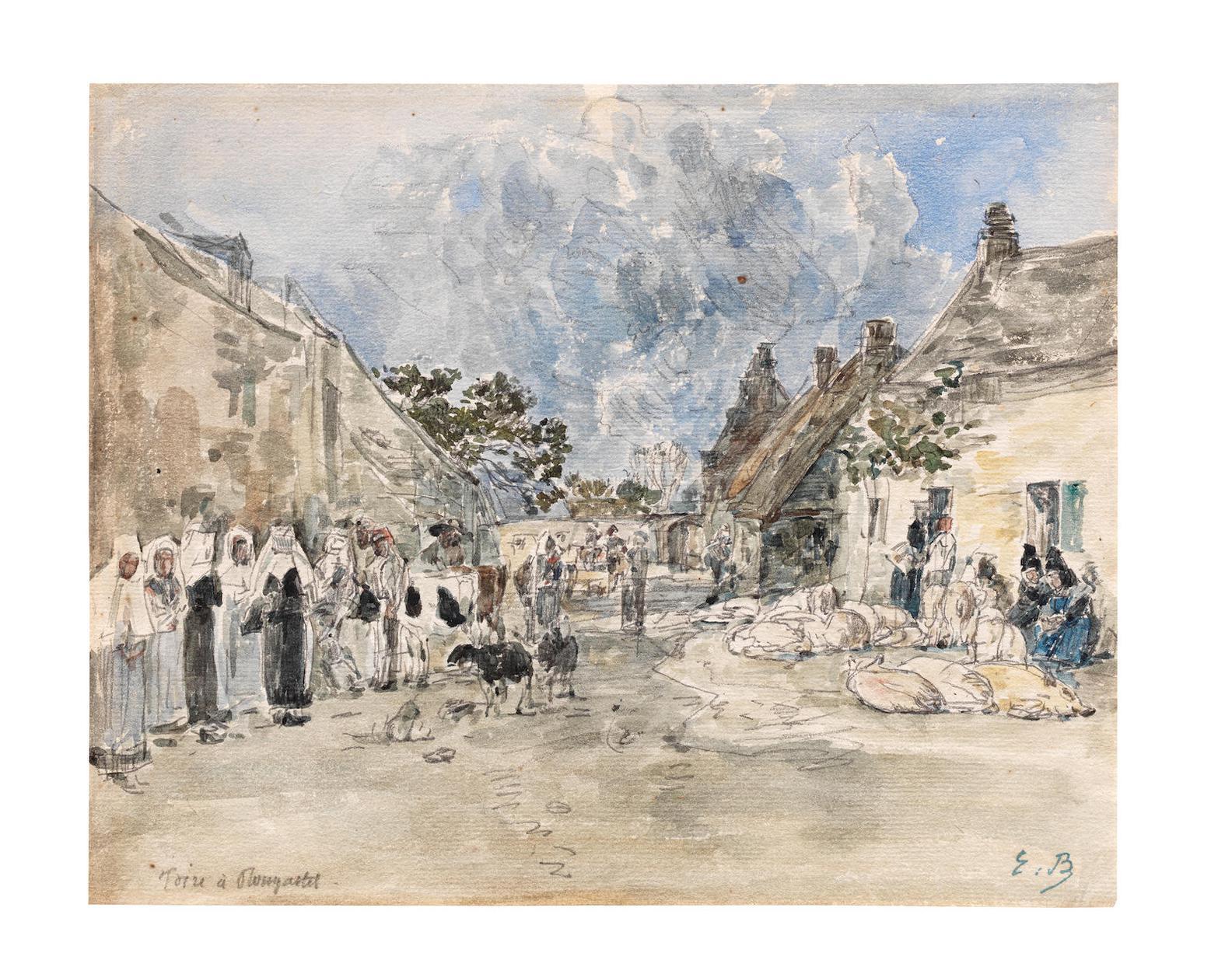 Eugene Louis Boudin-Foire A Plougastel-1872
