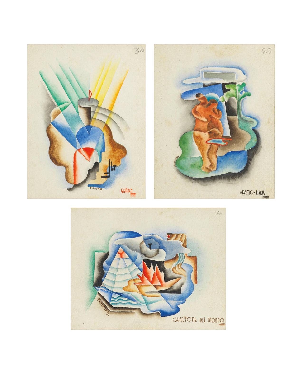Mino delle Site-a) Creazione Del Mondo; b) Adamo-Eva; c) Genio-1932