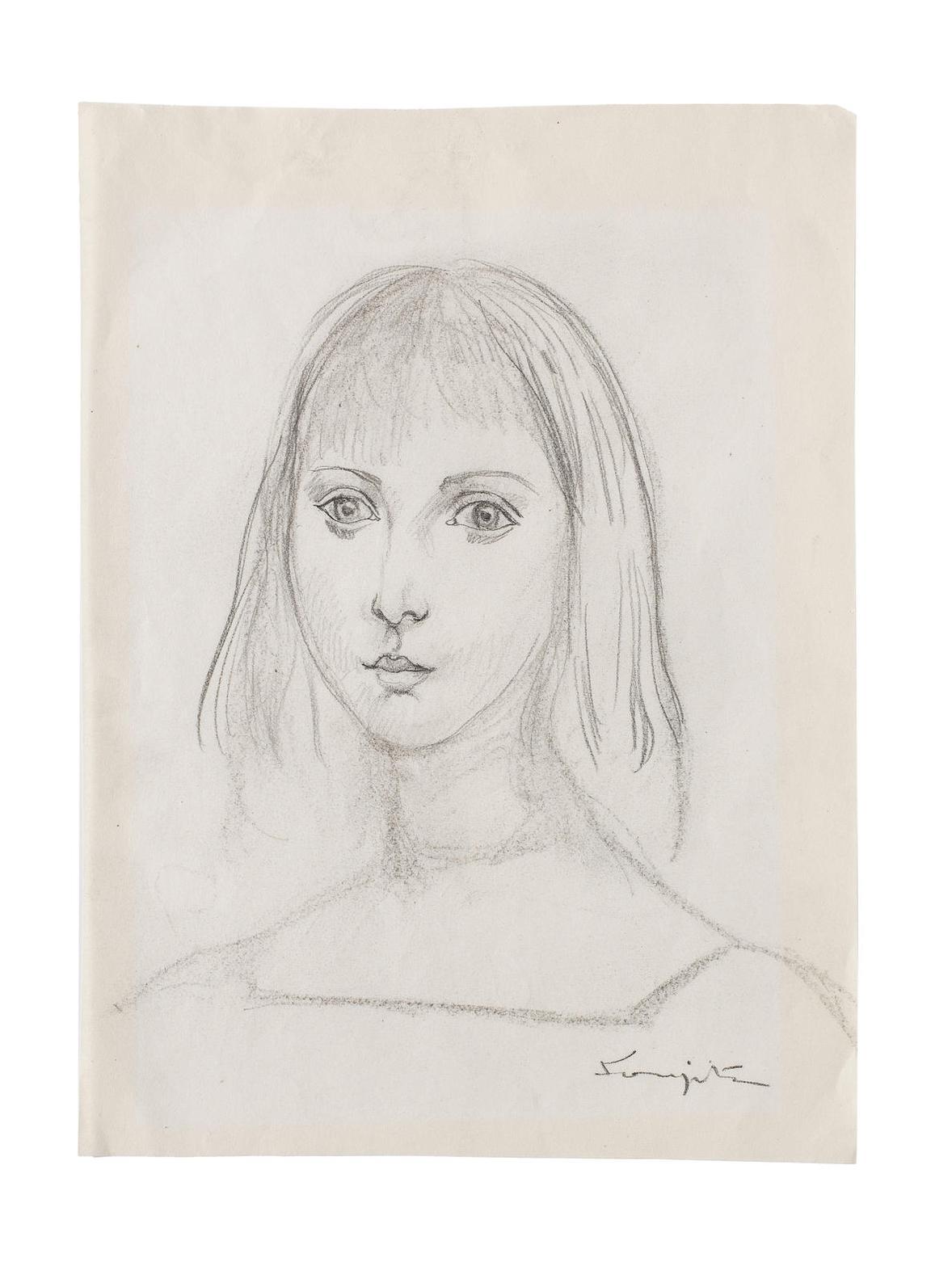 Tsuguharu Foujita-Portrait De Jeune Fille-
