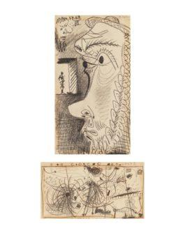 Pablo Picasso-Tetes De Profil (Recto); Scene De Cirque (Verso)-1967