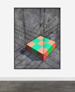 Ron Davis-Pink/Green Checkerboard Slab-1986