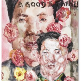 Liu Wei-A Good Father With Mao Poster