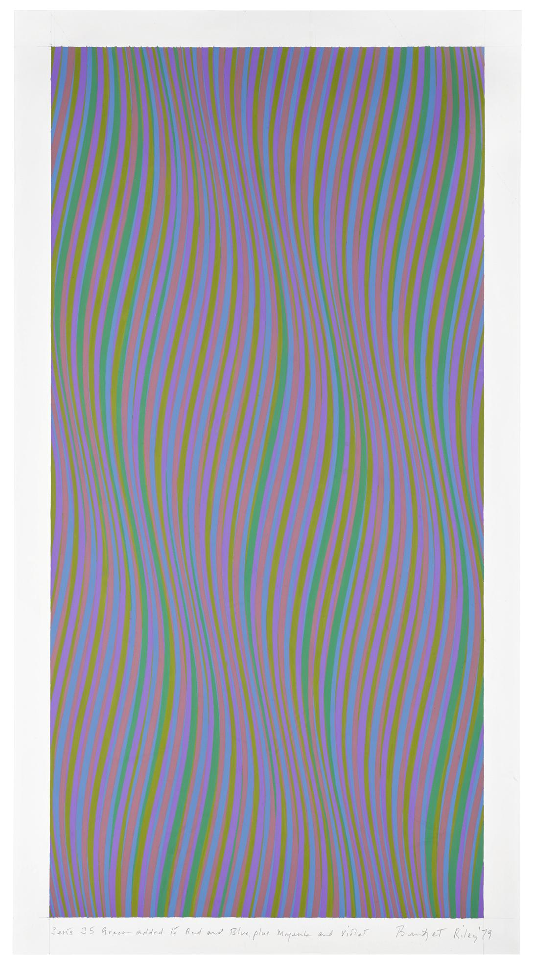 Bridget Riley-Series 35 (Green Added To Red And Blue, Plus Magenta And Violet)-1979