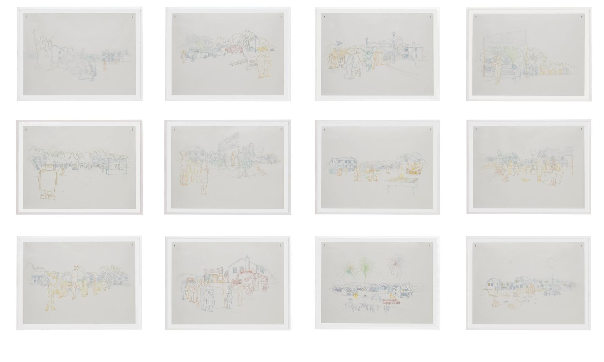 Pierre Huyghe-Streamside Day, Celebration Sketches-2004