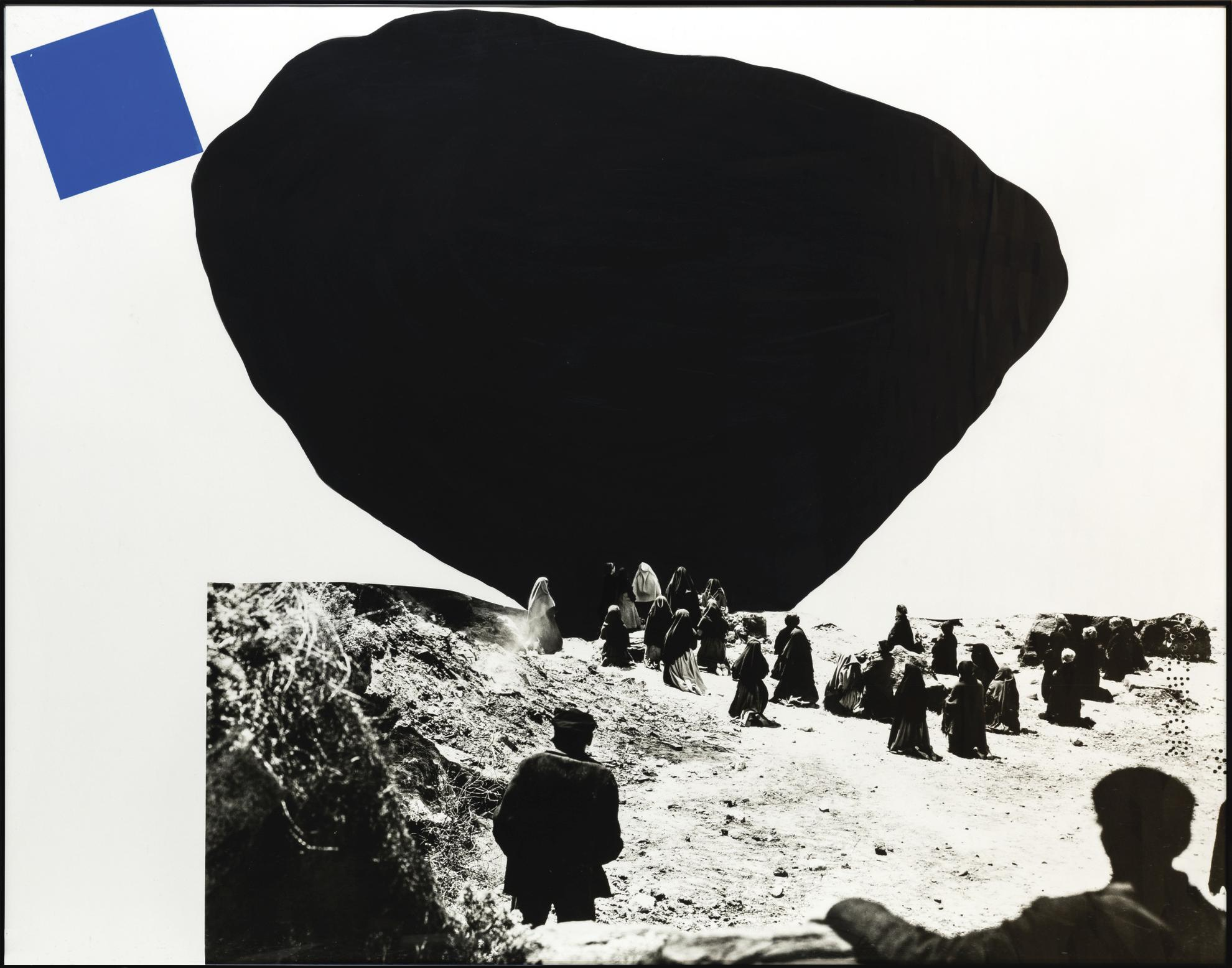 John Baldessari-Black Shape (Large)/ Blue Shape (Small) (With Onlookers)-1990