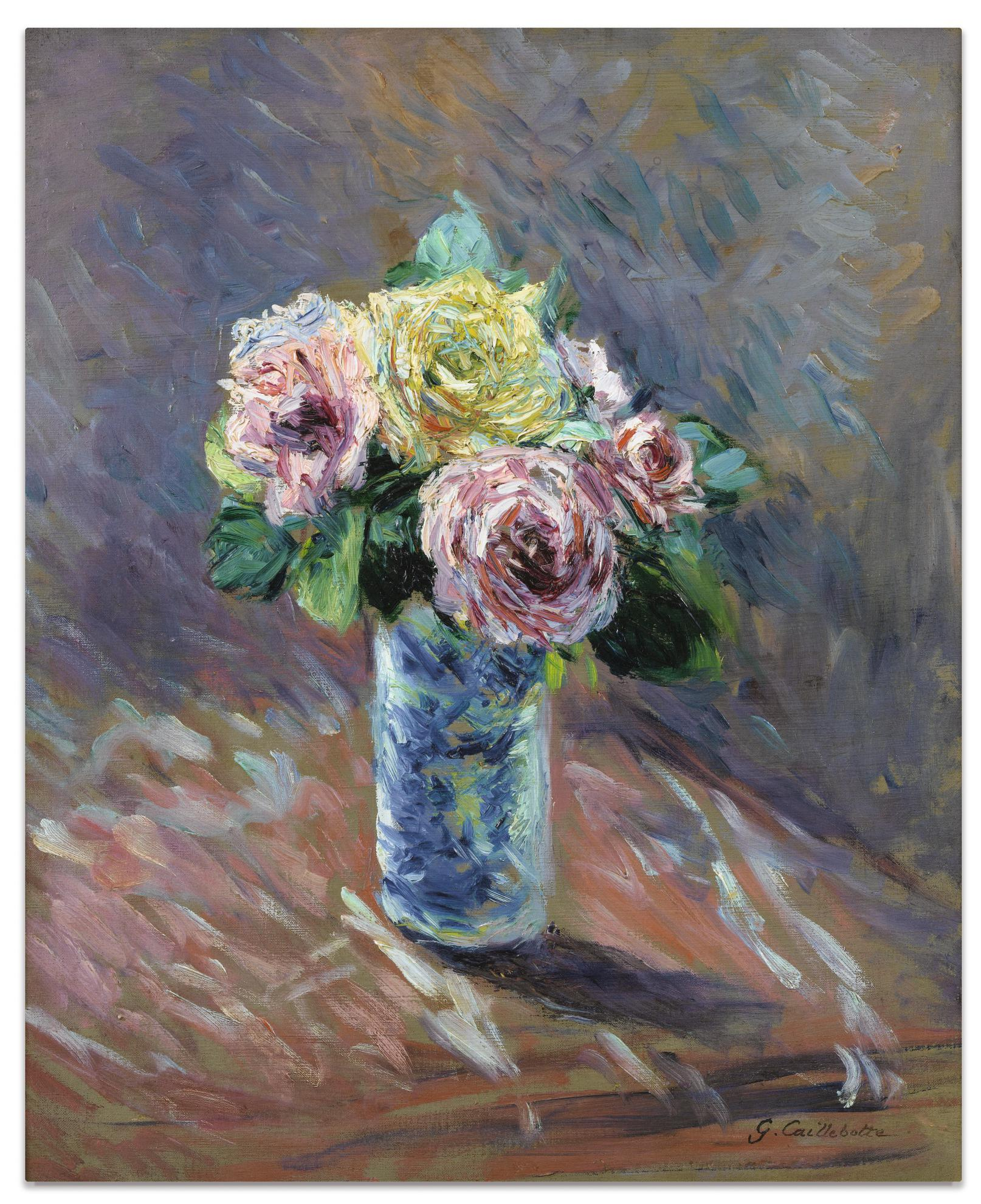 Gustave Caillebotte-Roses Jaunes Et Rouges Dans Un Vase De Cristal-1888