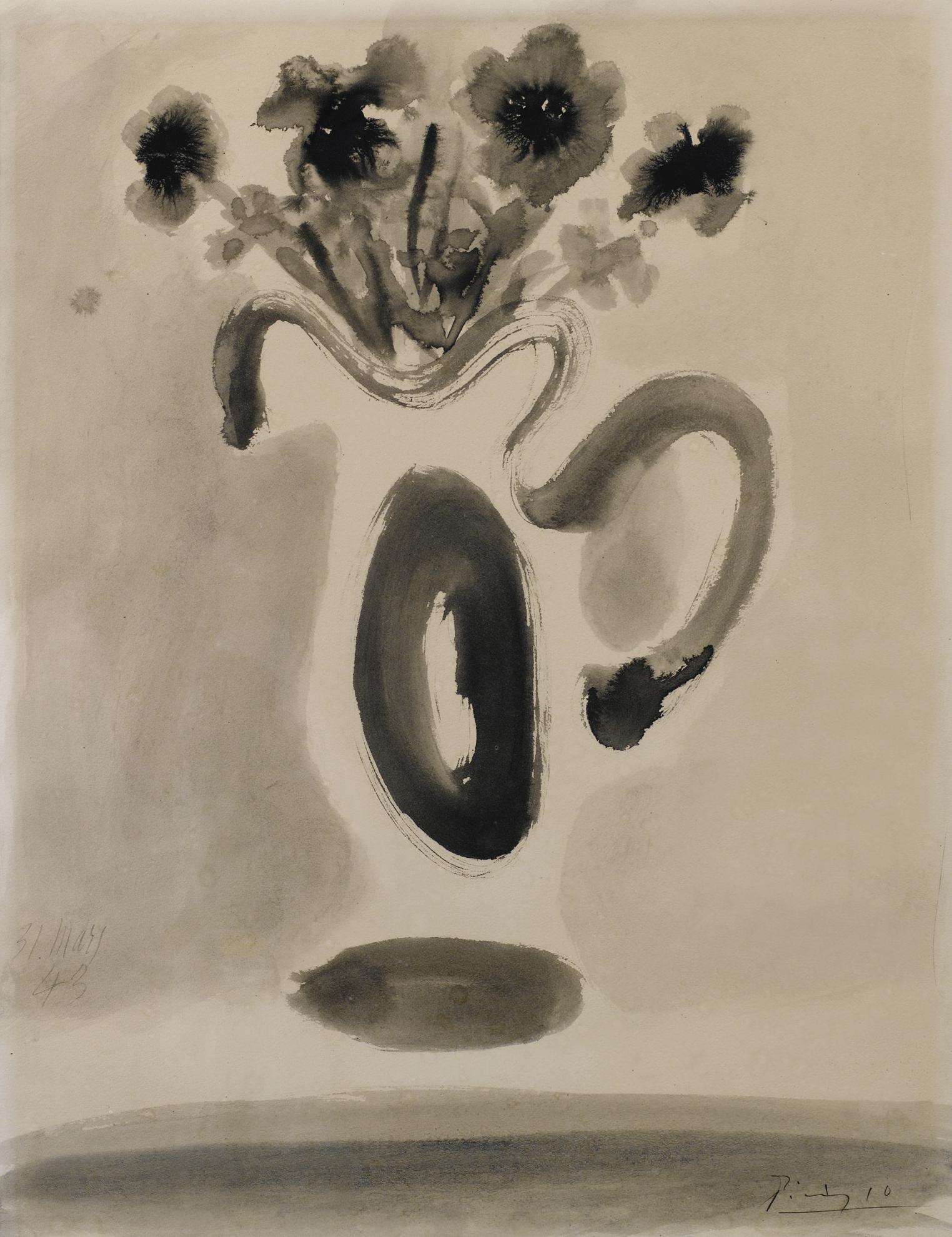 Pablo Picasso-Vase Avec Fleurs-1943