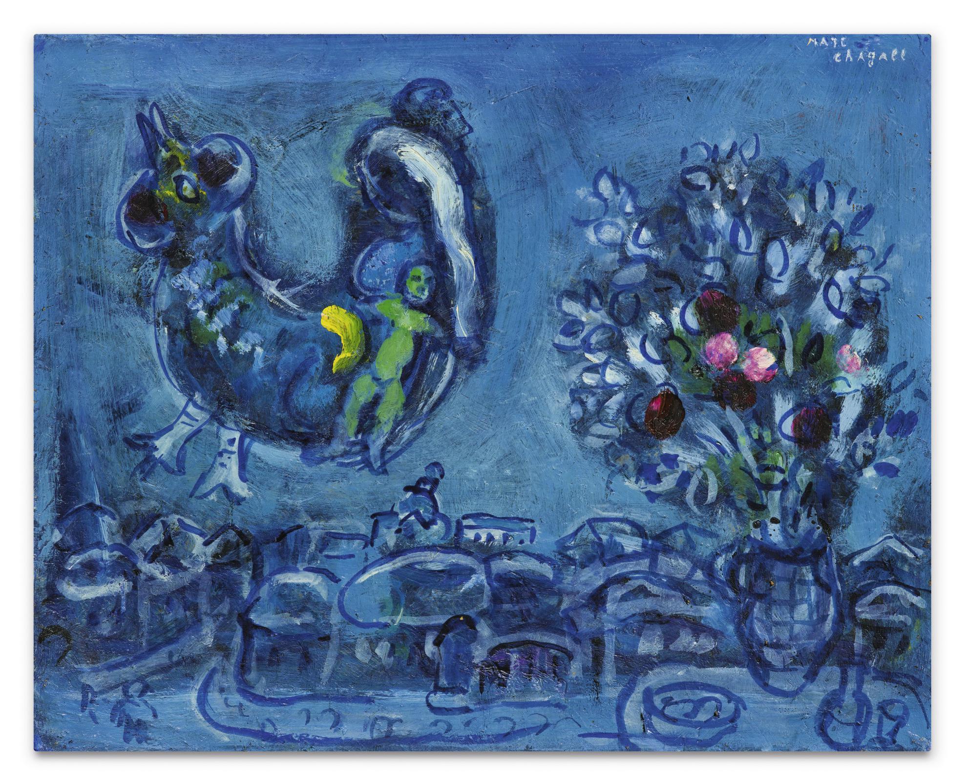 Marc Chagall-Evocation Du Village Natal Ou Etude Pour La Femme-Oiseau-1962