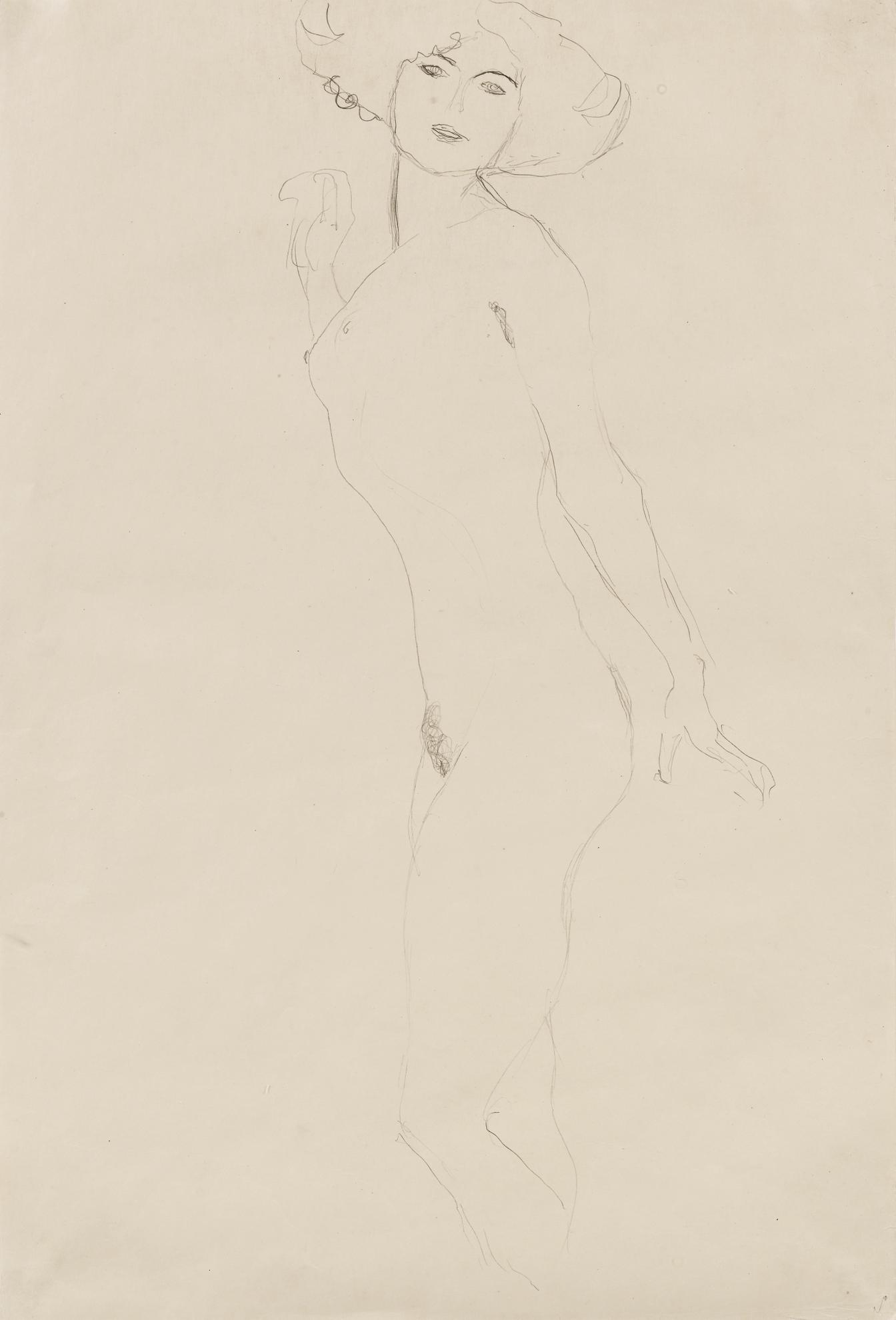 Gustav Klimt-Den Betrachter Anblickender Madchenakt (Standing Nude Looking At Us)-1907