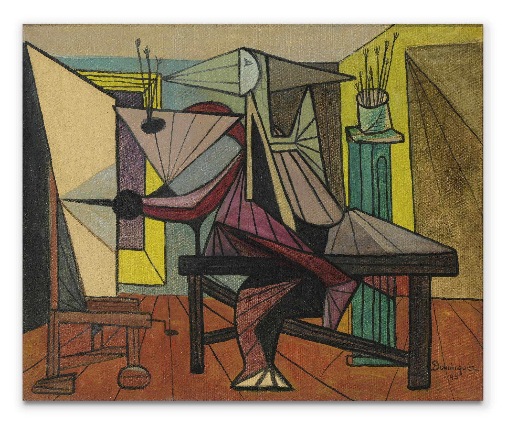 Oscar Dominguez-Pintor En Su Estudio-1945