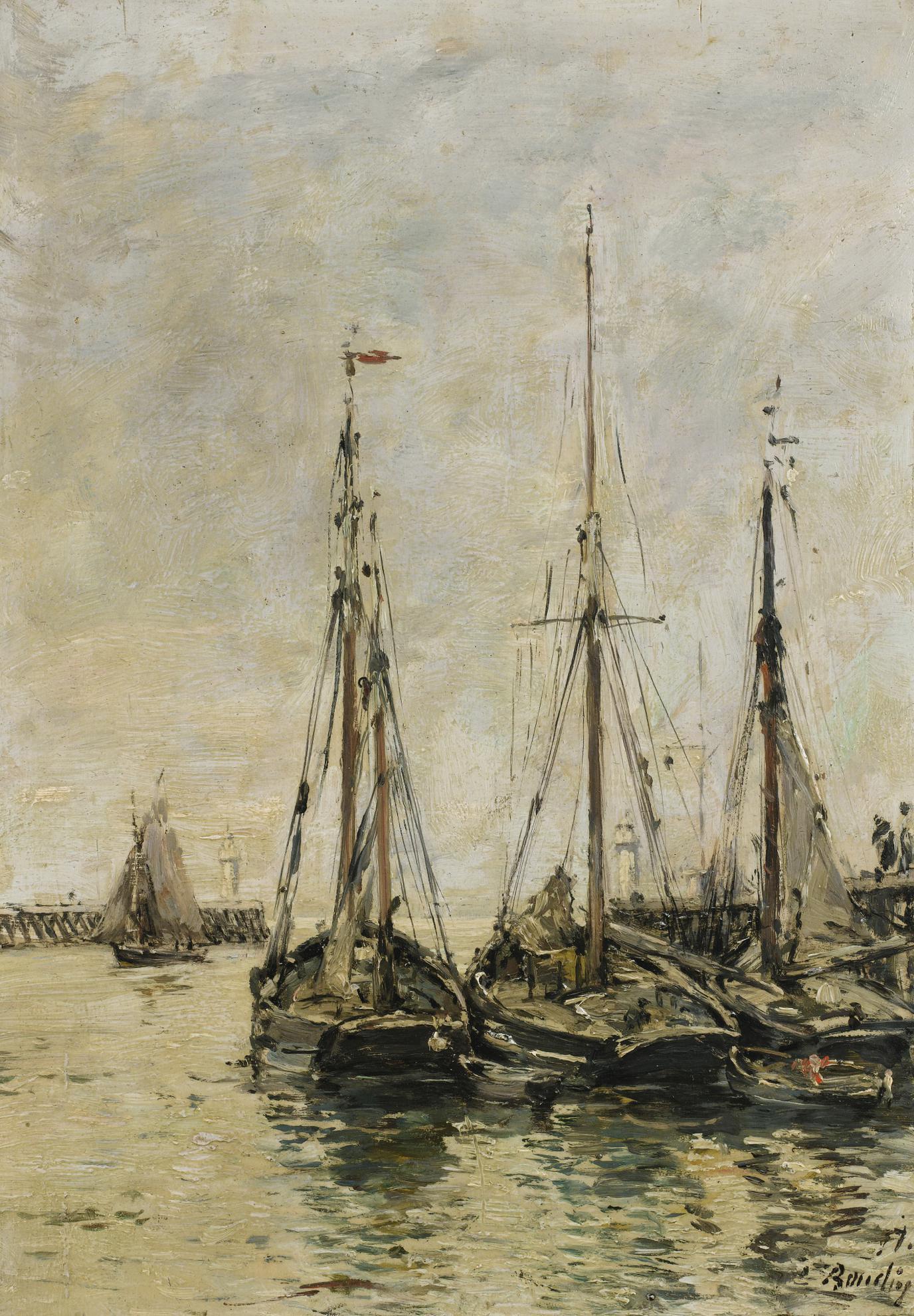 Eugene Louis Boudin-Trouville. Les Jetees. Maree Haute-1897