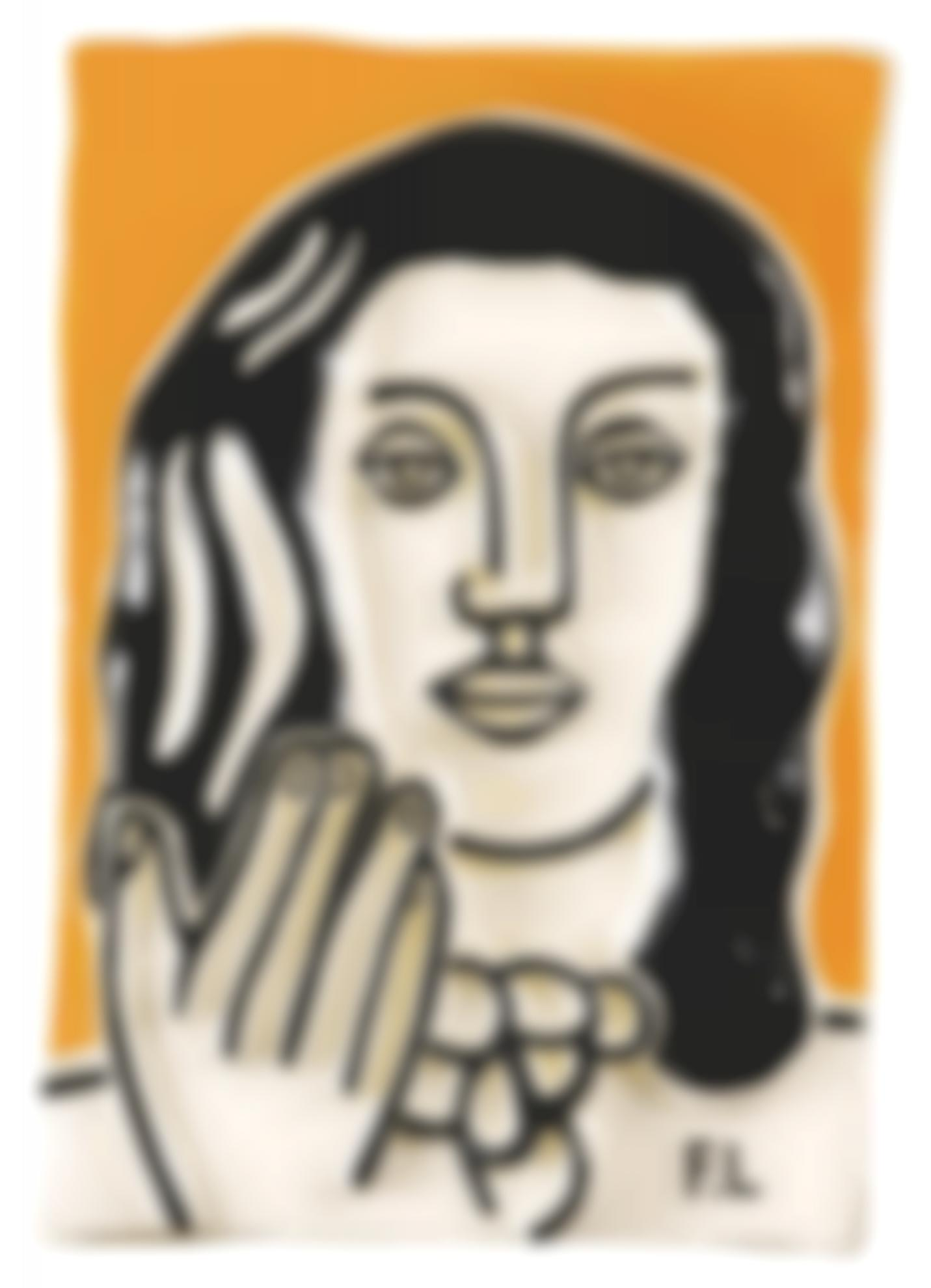 Fernand Leger-After Fernand Leger - Visage A Une Main Fond Ocre-1990
