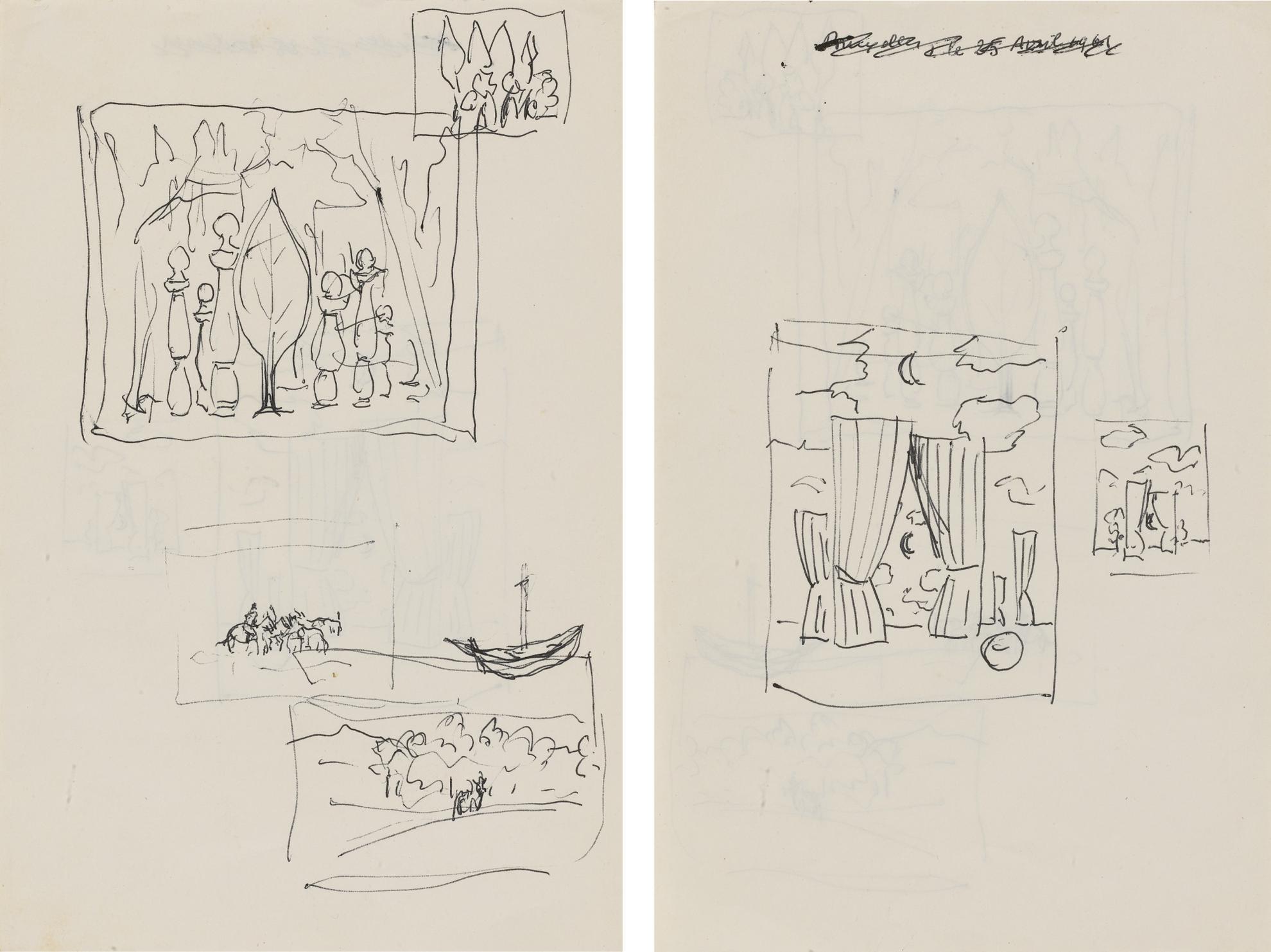 Rene Magritte-Dessin Sans Titre (Diverses Etudes) - Recto Verso-1961