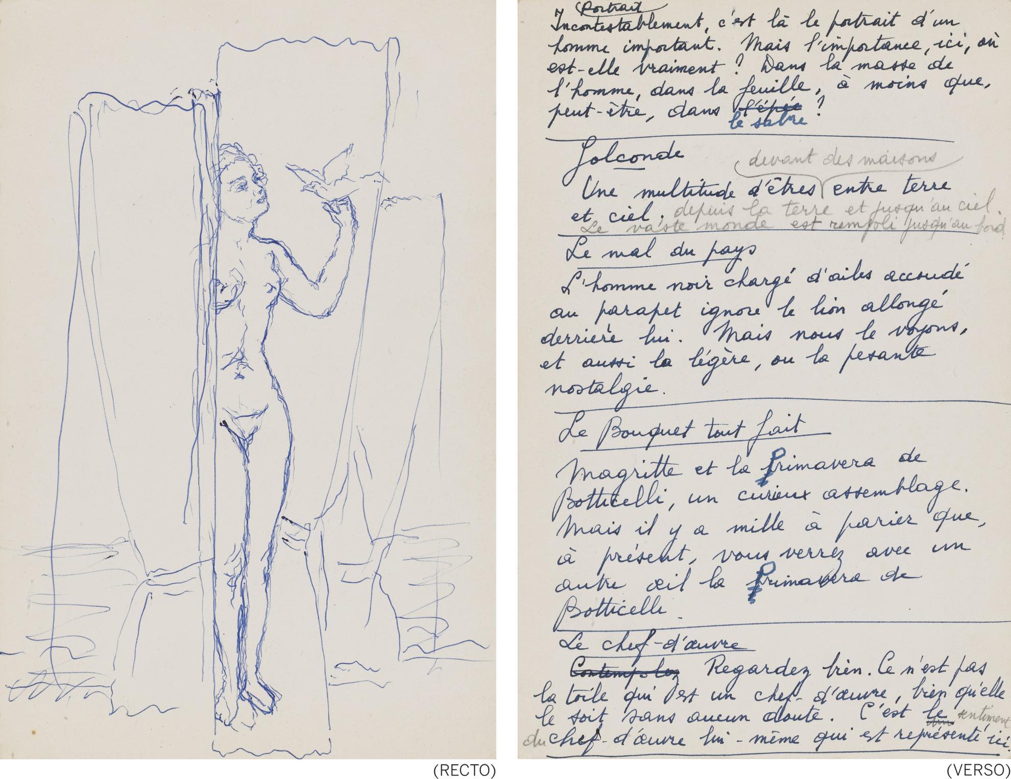 Rene Magritte-Dessin Sans Titre (Etude Pour Lembellie)-