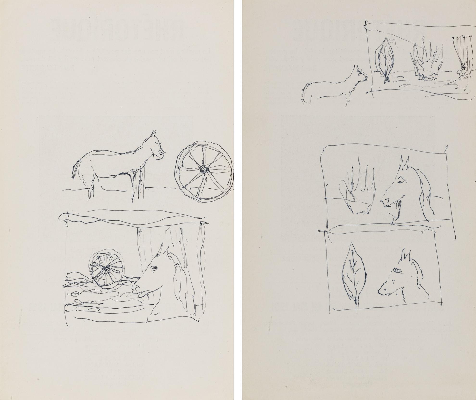 Rene Magritte-Two Drawings : (I) Dessin Sans Titre; (II) Dessin Sans Titre-