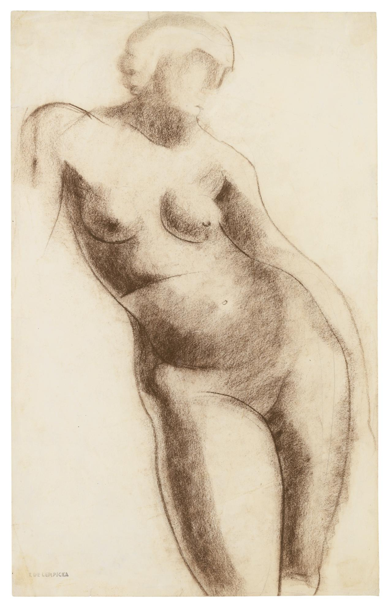 Tamara de Lempicka-Croquis. Nu Dehanche I-1925