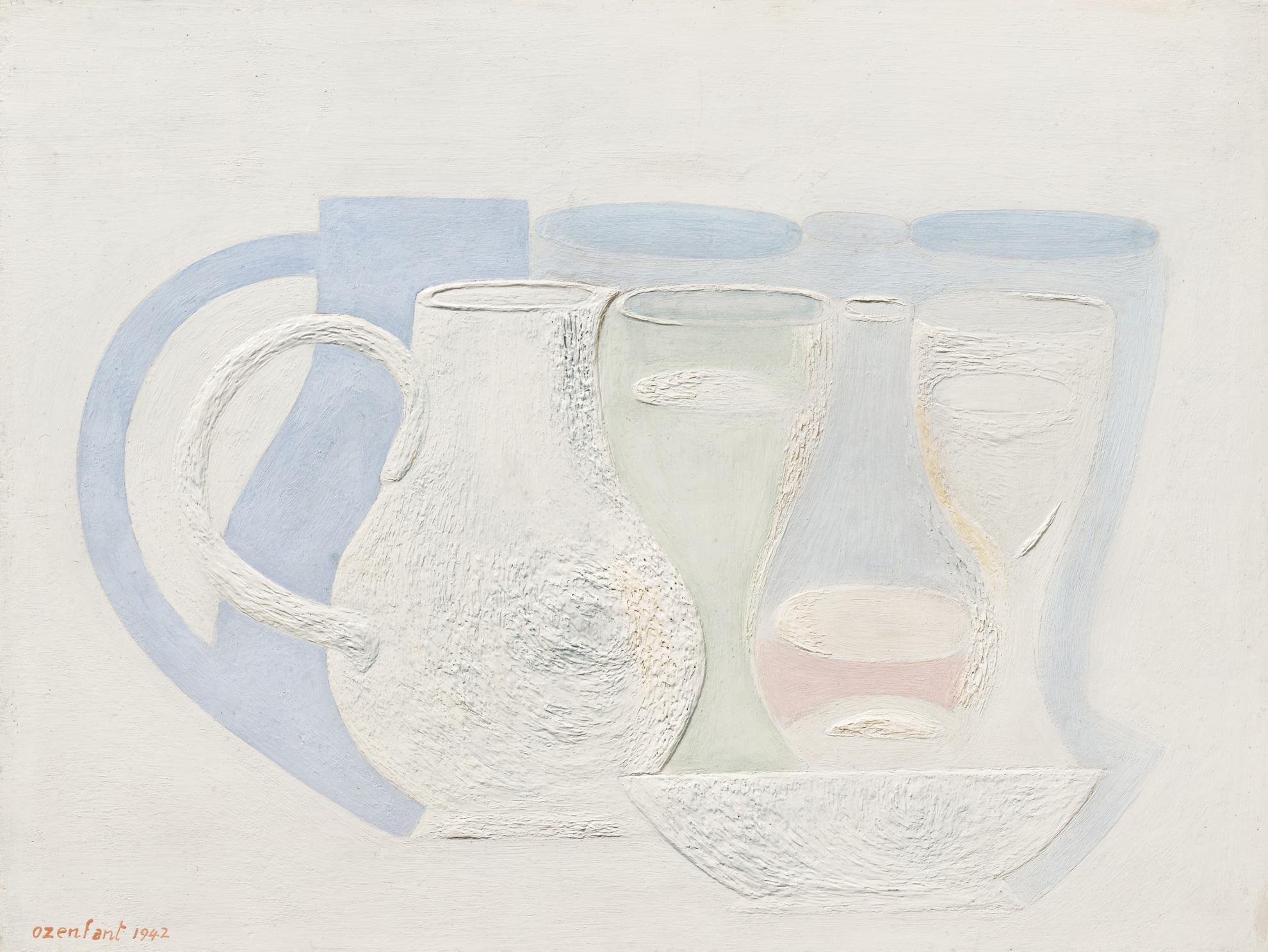 Amedee Ozenfant-Whites Ou Composition A La Cruche Et Au Verre-1942