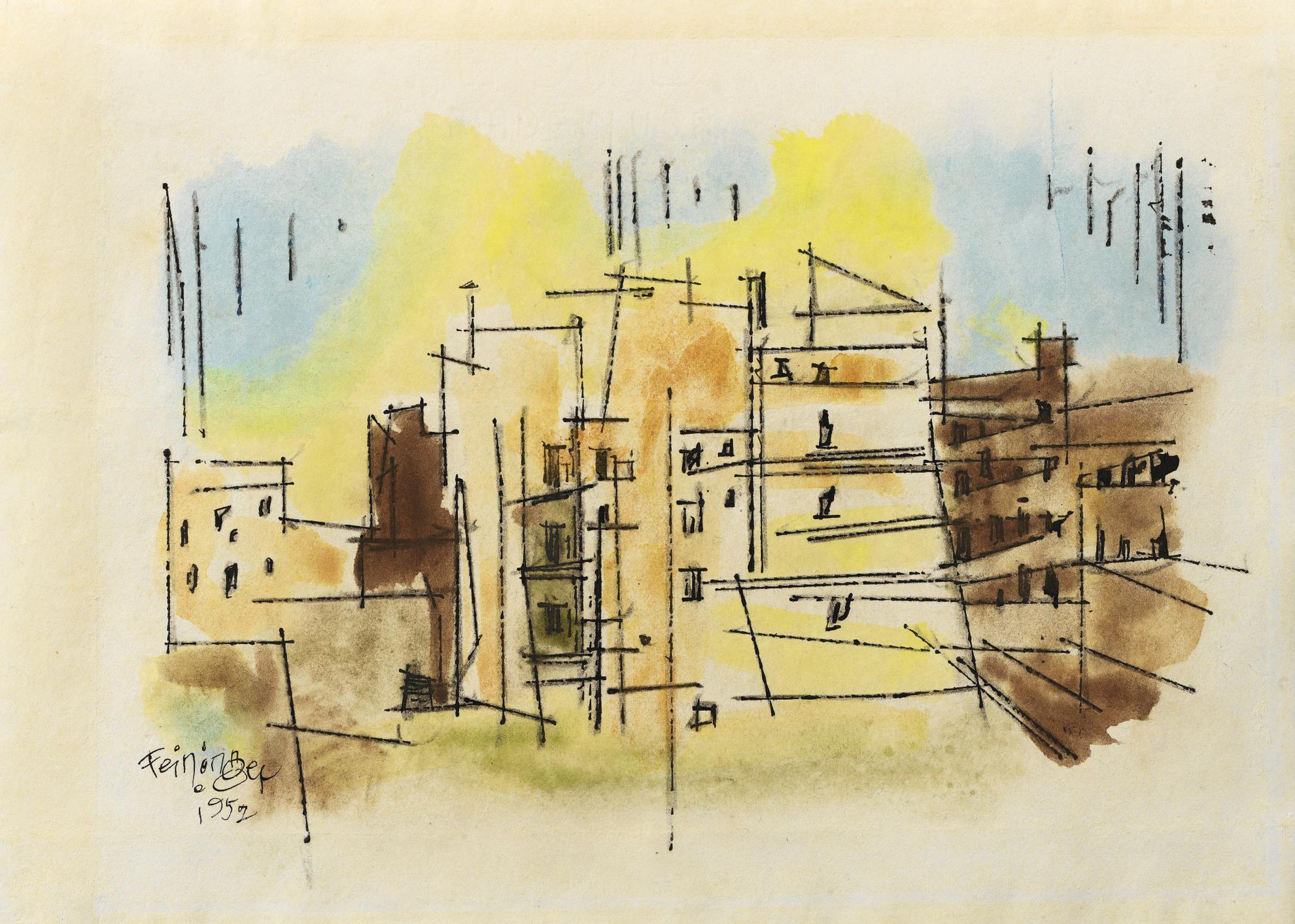 Lyonel Feininger-Cityscape-1952