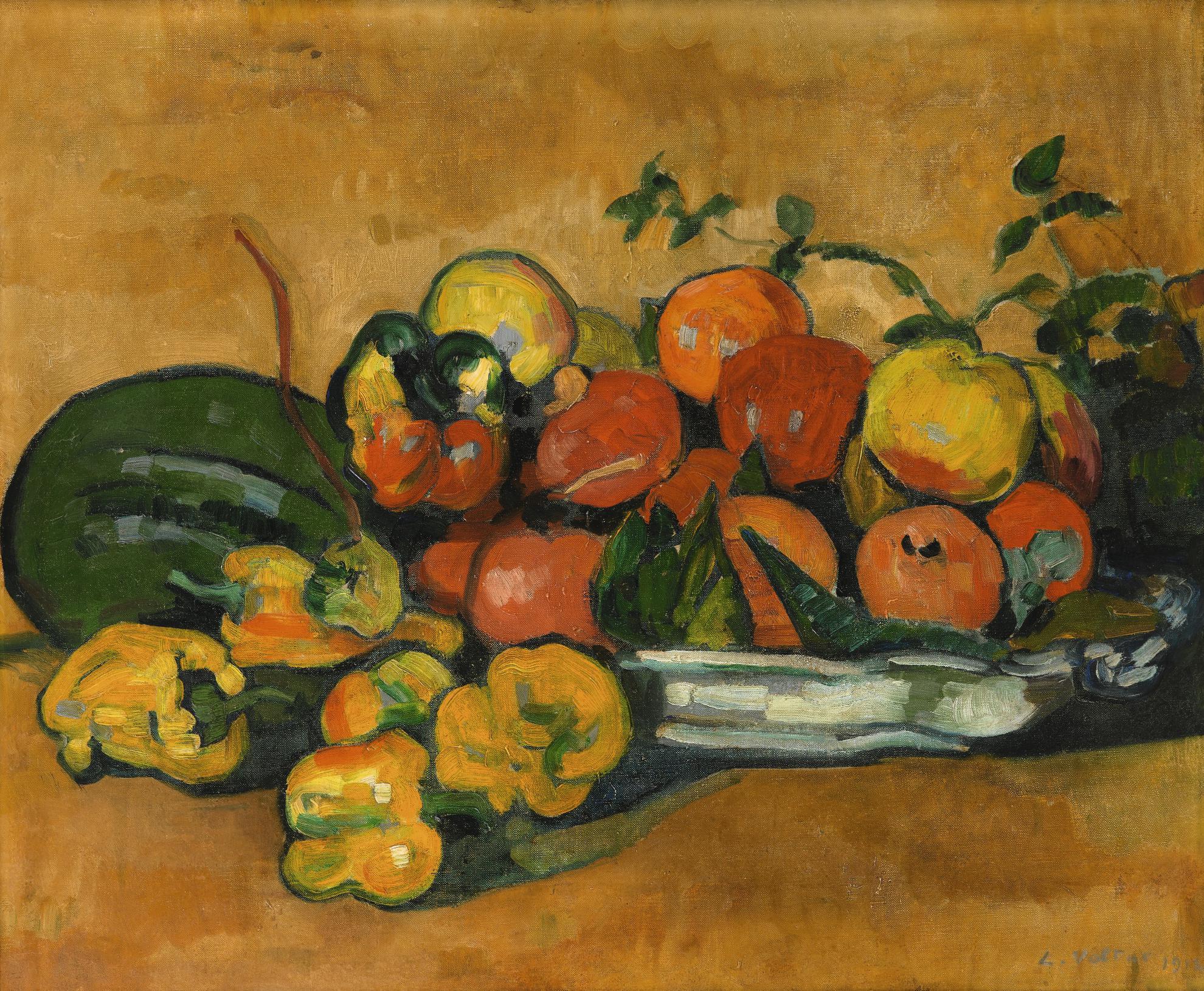 Louis Valtat-Nature Morte Aux Fruits Et Poivrons-1910