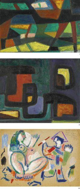 Ezekiel Baroukh - (i) Untitled (Abstract Composition); (ii) Untitled (Abstract Composition) III) Untitled (Woman Sitting)-1950