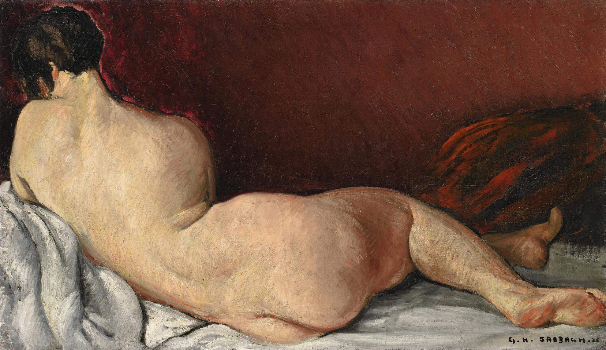 Georges-Hanna Sabbagh - Nue De Dos Etendue (Reclining Nude)-1926