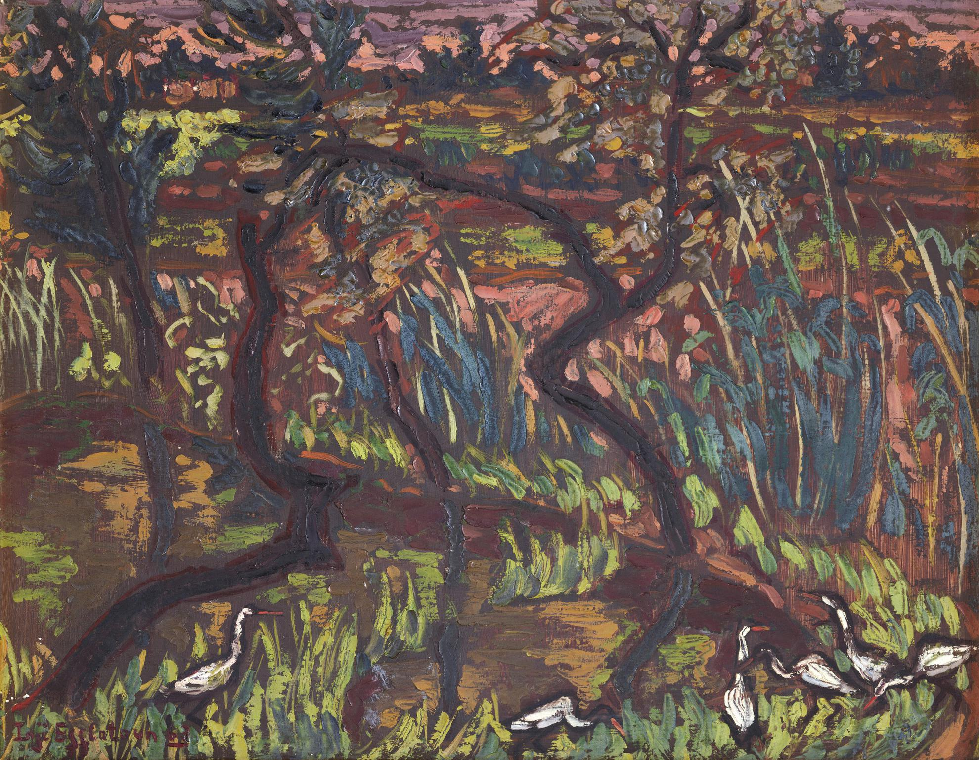 Inji Efflatoun - Landscape with Trees and Egrets (From the Prison Series)-1963